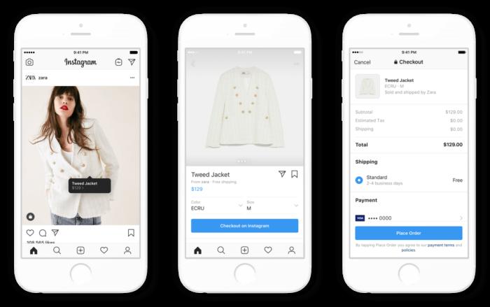 Instagram nákupní proces