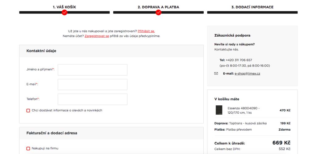 krátky nákupní proces při nákupu online od InspiShop