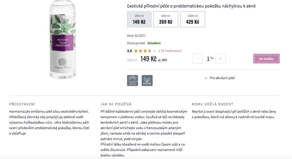 Popis produktů na e-shopu Nobilis